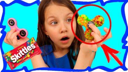 Skittles FIDGET SPINNER Challenge Челлендж Съедобный Фиджет Спиннер из Конфет Скитлс /// Вики Шоу