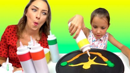 PAN CAKE ART CHALLENGE БЛИННЫЙ ЧЕЛЛЕНДЖ Back To School /// Вики Шоу